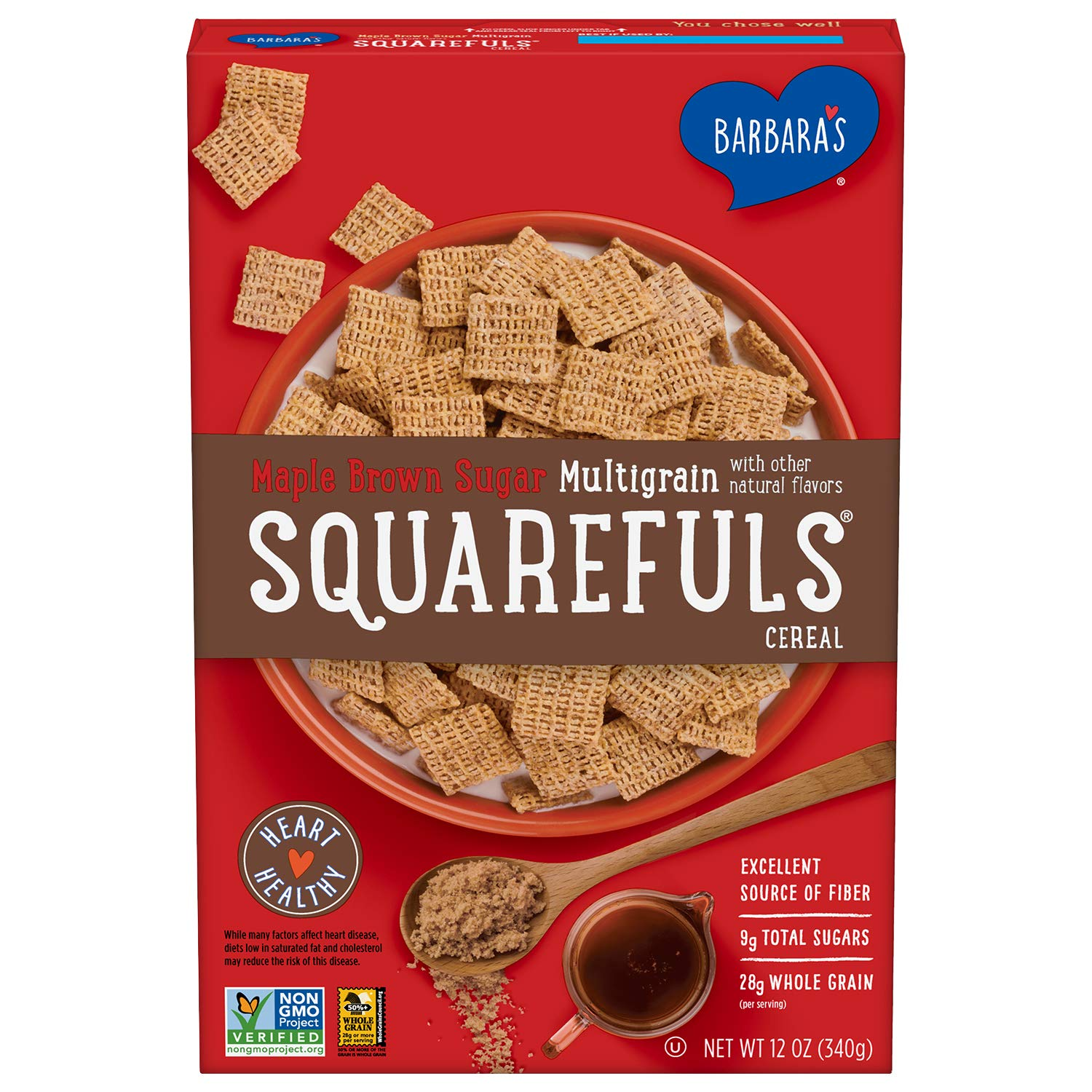 Barbara's Multigrain Squarefuls Maple Brown Sugar Cereal, Heart Healthy, Non-GMO, 12 Oz Box