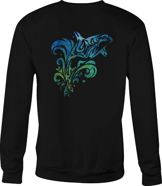 Crewneck Sweatshirt Jumping Island Tribal Dolphin Vintage Tiedye Beach Colors