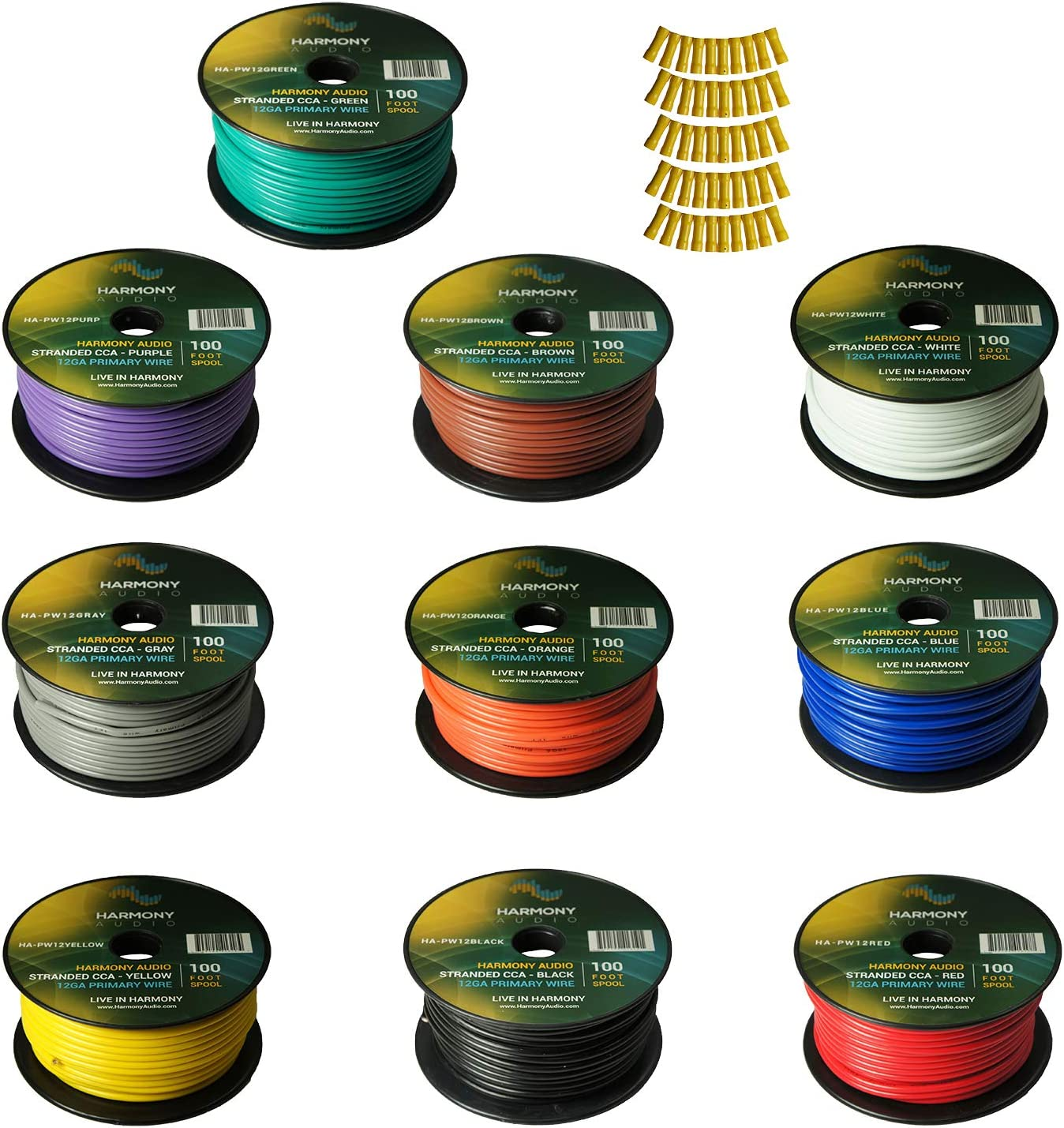 Harmony Audio Primary Single Conductor 12 Gauge Power or Ground Wire - 10 Rolls - 1000 Feet - Color Mix for Car Audio/Trailer/Model Train/Remote