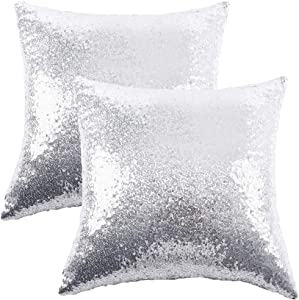 """Ushinemi Sequin Throw Pillow Cases, Silver Glitter Square Throw Pillow Covers, Cool Metallic Throw Pillow Cover Protector Stylish Cushions for Sofa Couch Home Festivals Holiday Decor, 16x16"""", Set of 2"""