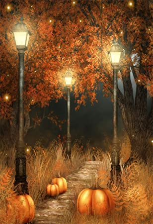 Aofoto 5x7ft Halloween Pumpkin Photography Backdrop Fall Night Park Scenery Background Autumn Trees Withered Grass Glowworm Vintage Road Lamps