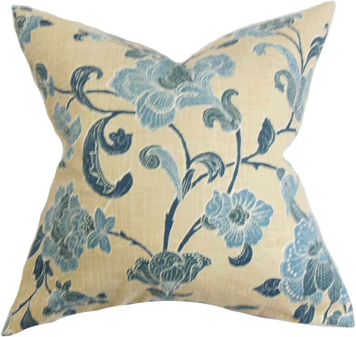 The Pillow Collection Duscha Floral Bedding Sham Blue Yellow European 26 X 26 Bedding Decorative Pillows Inserts Covers