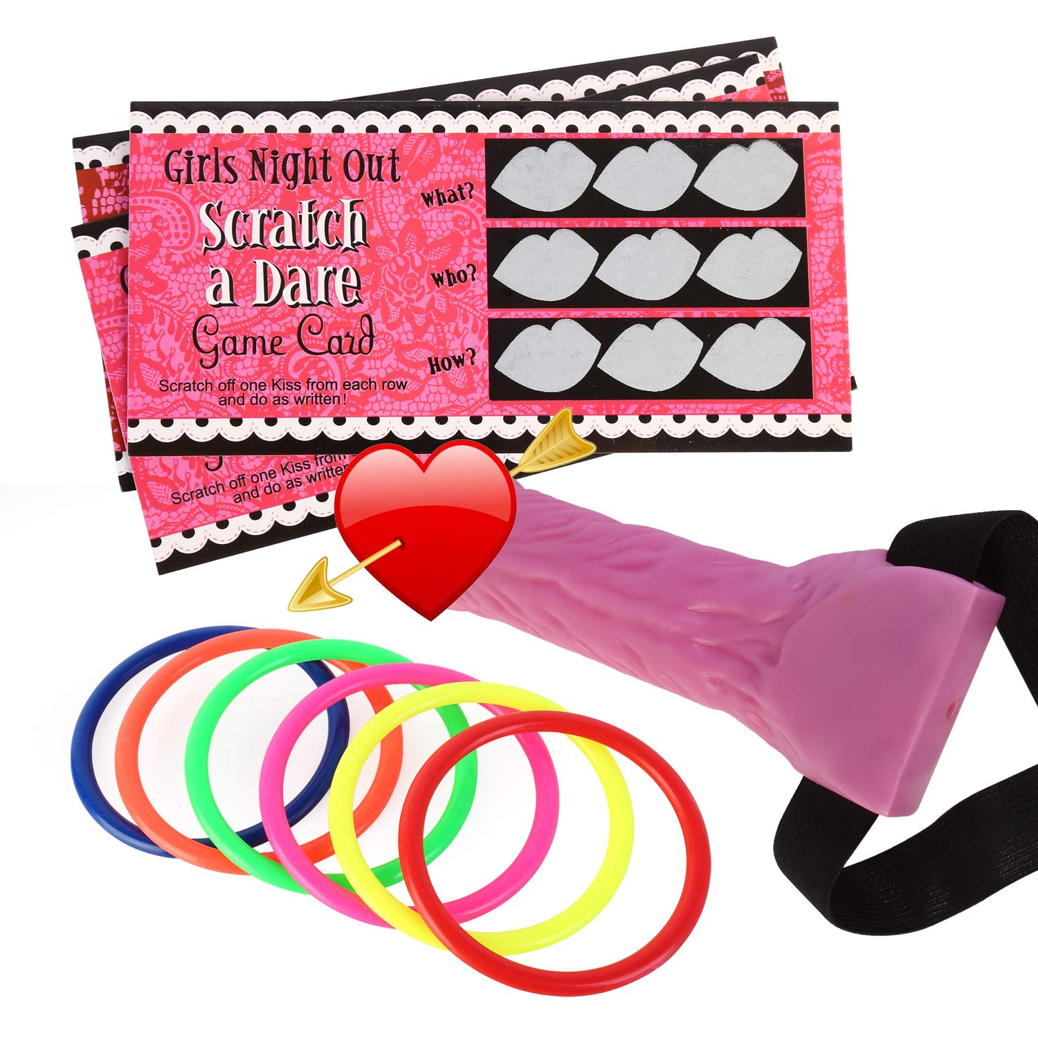 ATrigger Hen Party Games Decorations Dick Heads& Dare Scratch Off Cards, Funny Adult Game Ring Toss Hen Night Party Girls Out Games