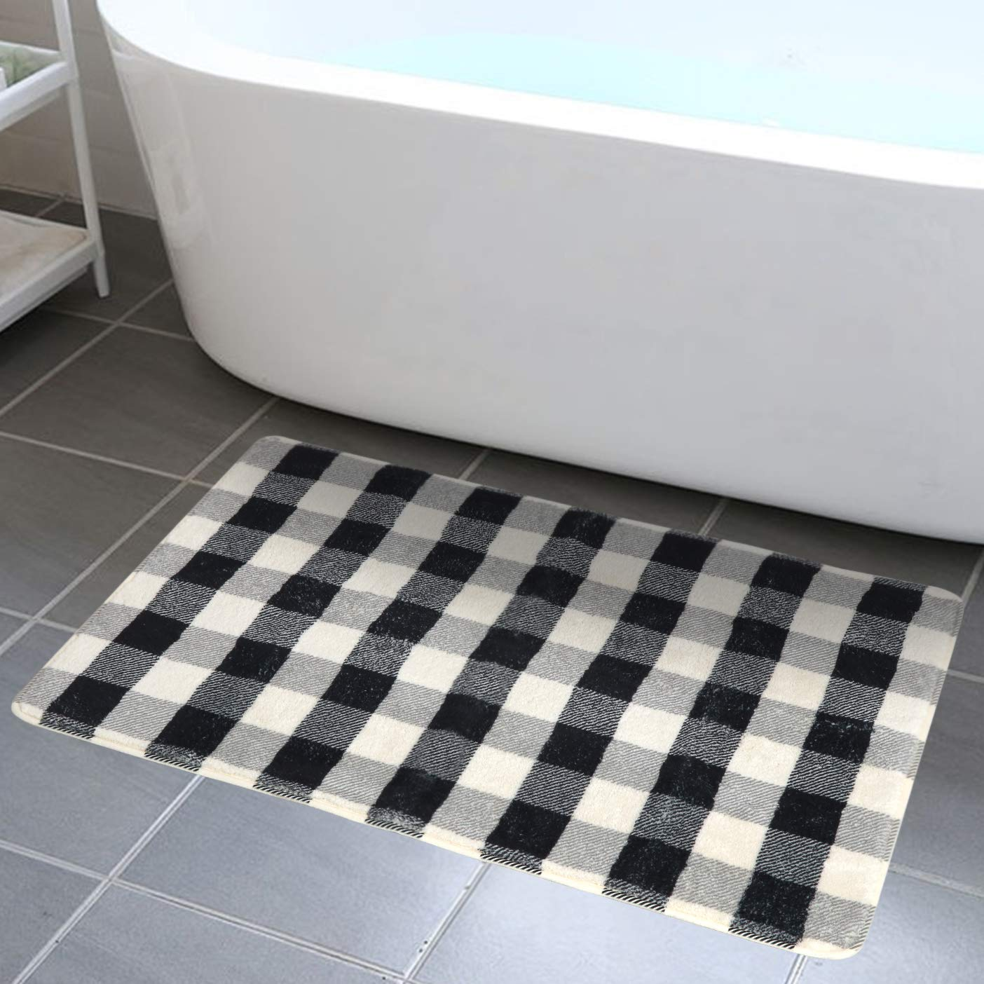 HAOCOO Bathroom Rugs 18x25 inch Black and White Buffalo Check Faux Wool Bath Mat Non-Slip Door Carpet Soft Luxury Microfiber Machine-Washable Floor Rug for Doormats Tub Shower