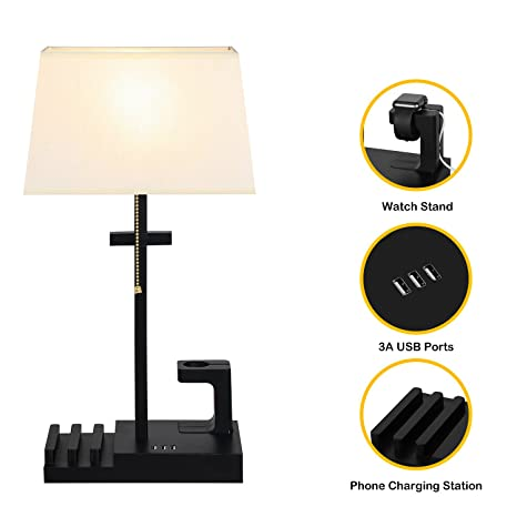 Multifunctional Table Lamp, HOMPEN Black Base Desk Lamp With Cream Shade,  Apple Watch Charger