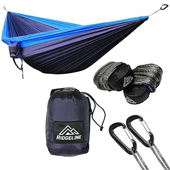 Ridgeline Double Camping Hammock – Portable Lightweight Parachute Nylon – Tree Straps, Dyneema Rope Suspension and 5kN Carabiners Navy Blue Royal Blue