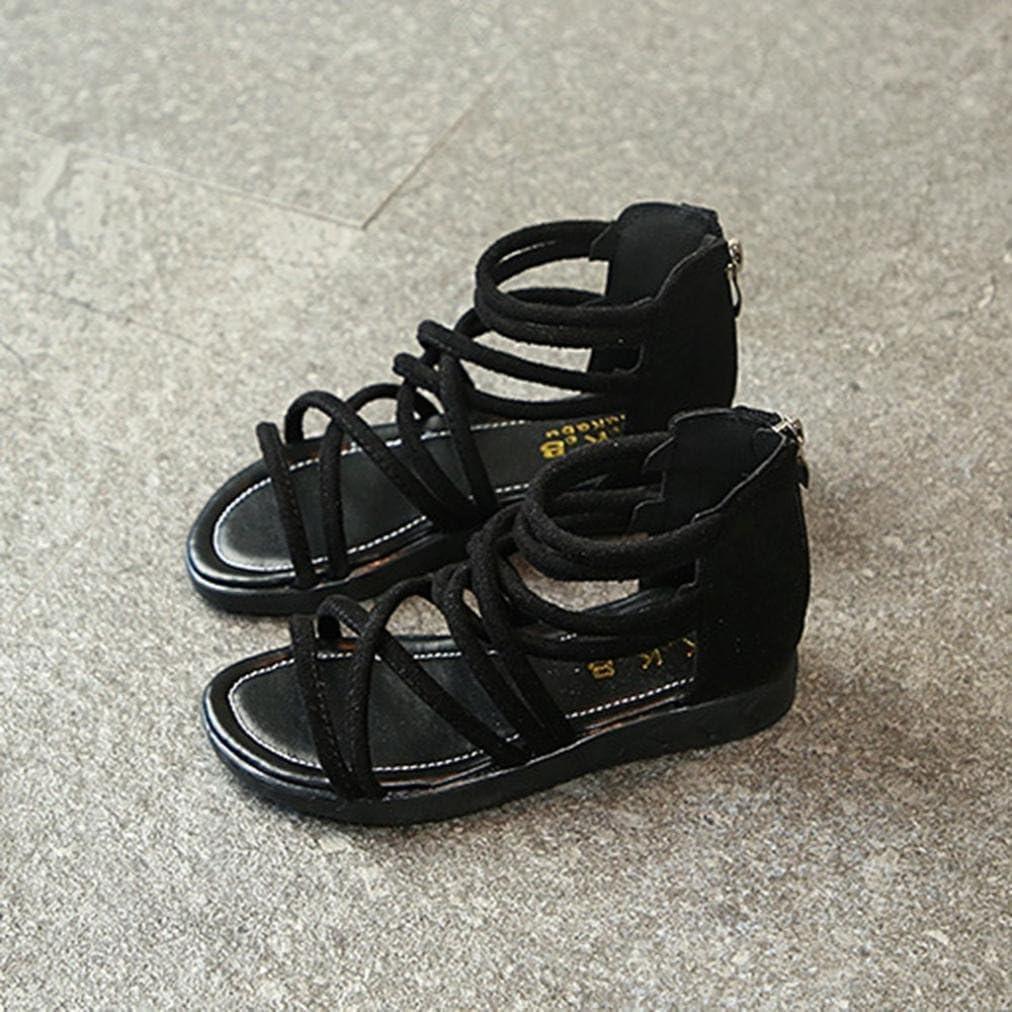 Enjocho Toddler Girls Flat Sandals Zipper Shoes Kids Baby Open Toe Soft Beach Sandals