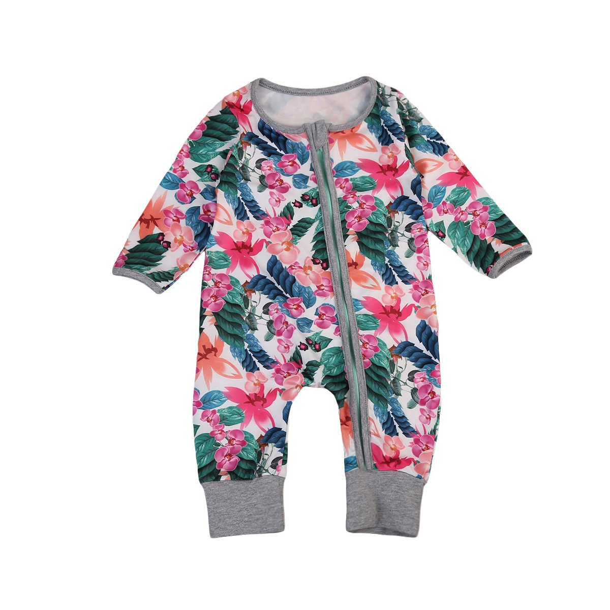 Newborn Baby Girl Floral Sleeper Flower Printed Zipper Romper Jumpsuit Play Wear ITFABS