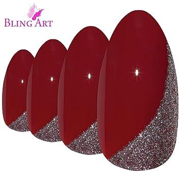 Amazon.com: Bling Arte almendra uñas postizas falso Stiletto ...