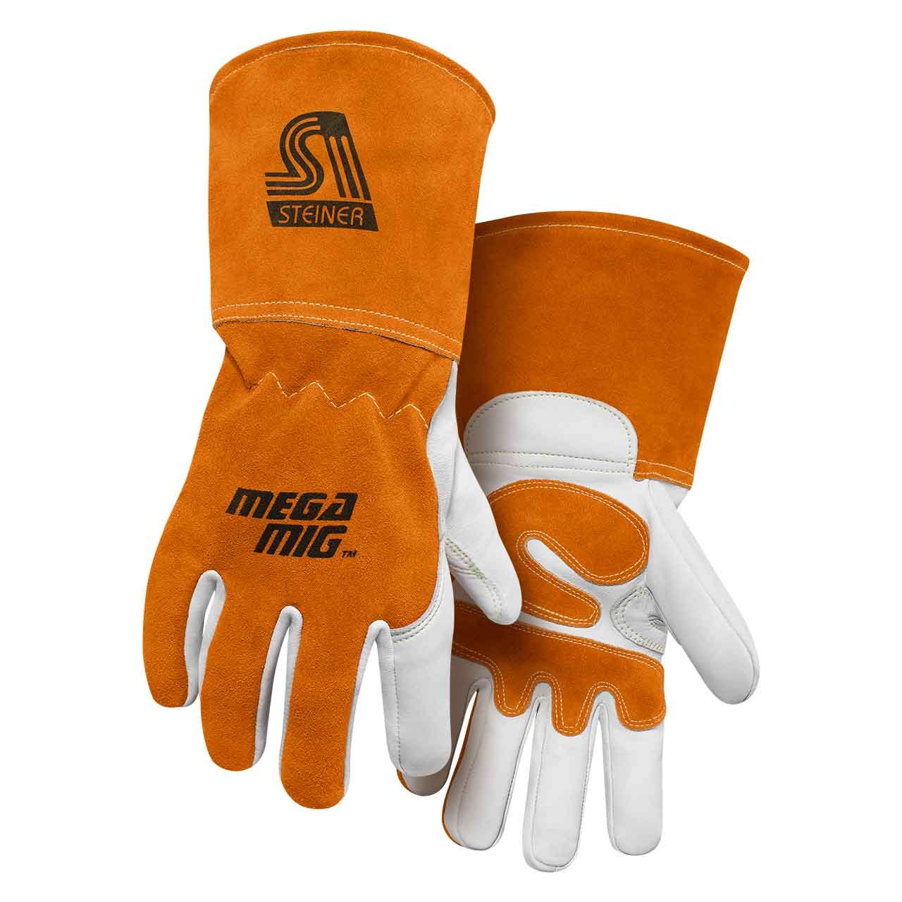 Steiner 0215-M Mega MIG Gloves, Premium Heavyweight Grain Goatskin Split Cowhide Back Palm Reinforcements, 4.5-Inch Cuff, Medium
