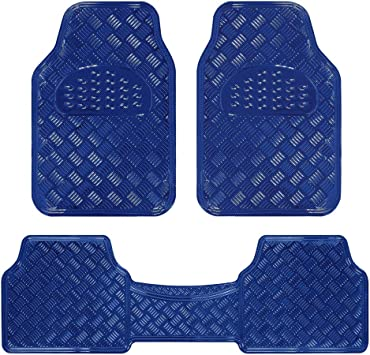 Amazon Com Bdk Universal Fit 3 Piece Set Metallic Design Car Floor Mat Heavy Duty All Weather With Rubber Backing Navy Blue Mt 643 Bl Automotive