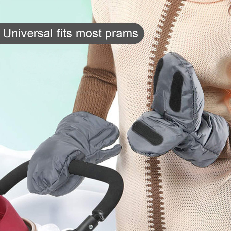 Impermeables Para uso en Invierno-Gray Guantes para cochecito de beb/é Anticongelantes Beb/é Guantes de Silla de Paseo Extra Gruesos