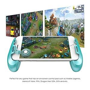 GameSir F1 Mobile Joystick Controller Grip Case for Smartphones, Mobile Phone Gaming Grip with Joystick, Controller Holder Stand Joypad with Ergonomic Design (Color: Blue)