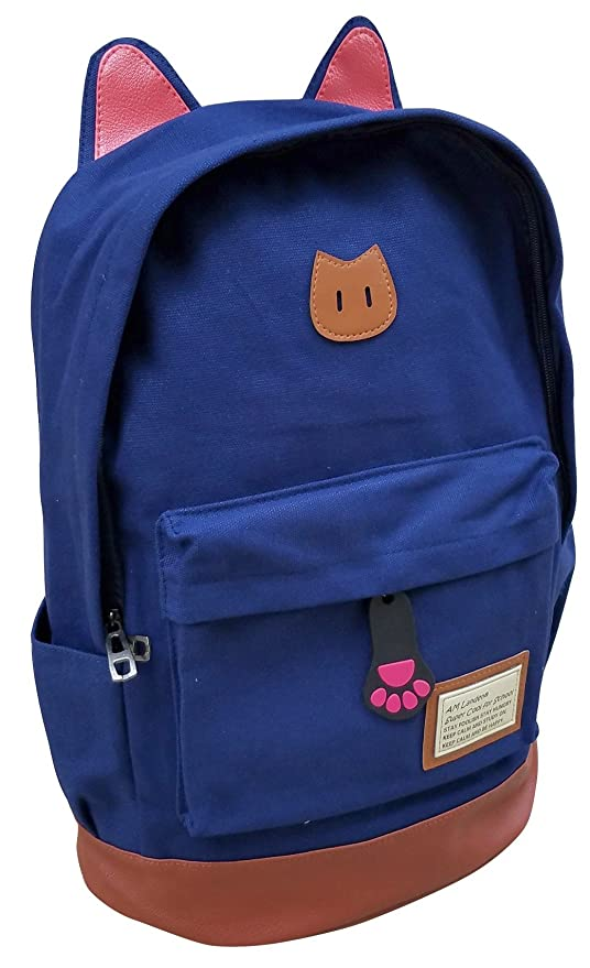ed185d83569 Amazon.com   AM Landen CAT Ears Backpack School Bag Travel Backpack Handbag( Blue-Small)   Kids  Backpacks