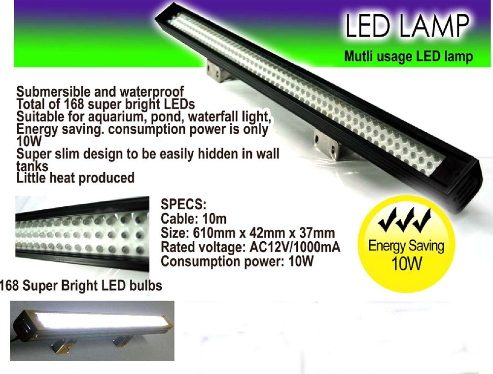 168 White LED Linear Underwater Waterfall Pond Aquarium Light