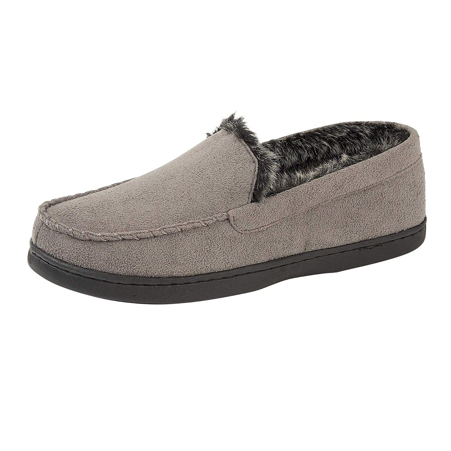 3a6a0140f44 Mens Stratton Moccasins Slippers Loafers Faux Suede Fur Lined Winter Shoes  Size  Amazon.co.uk  Shoes   Bags