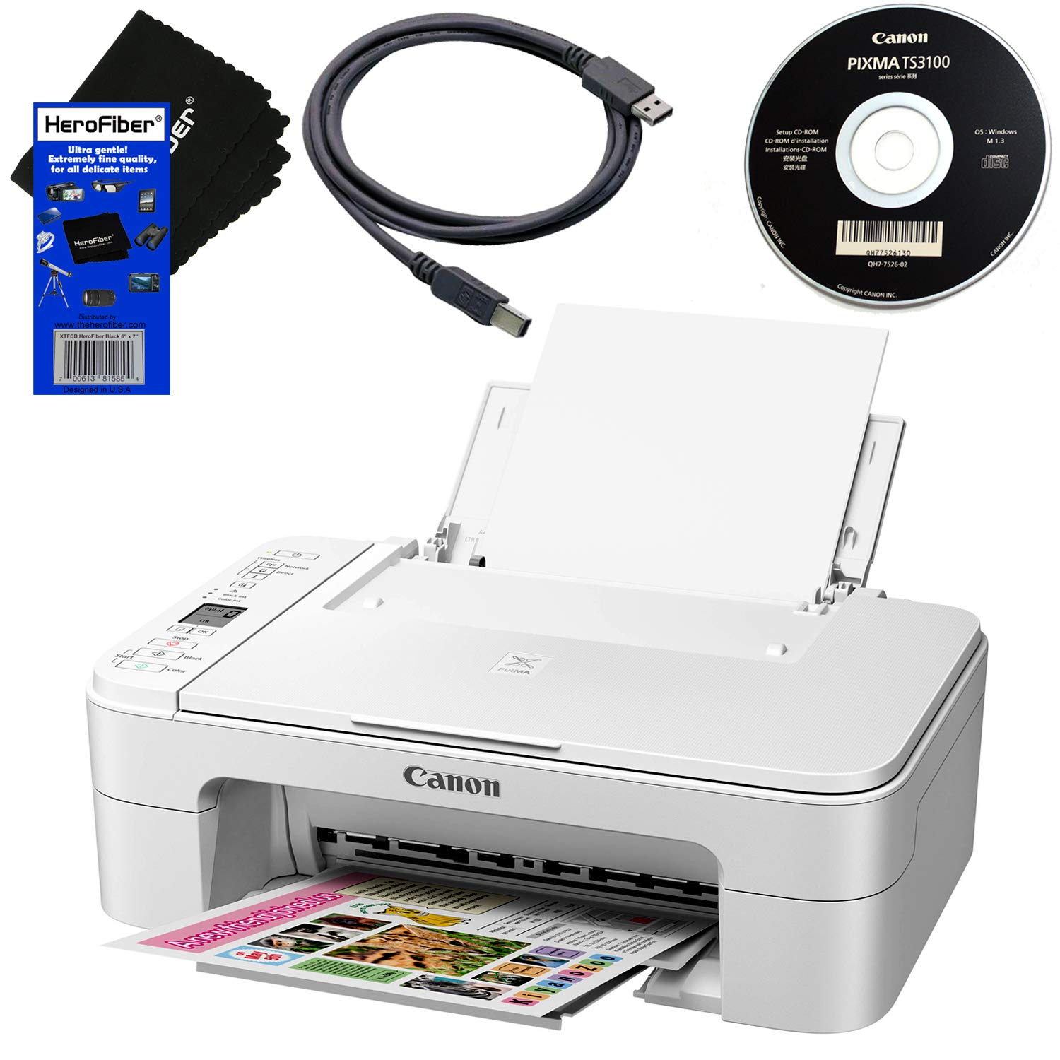 Canon PIXMA TS3120 Wireless All-in-One Compact Inkjet Printer for Home Use with Print, Scan, Copy (White) + Set of Ink Tanks + USB Printer Cable + HeroFiber Ultra Gentle Cleaning Cloth