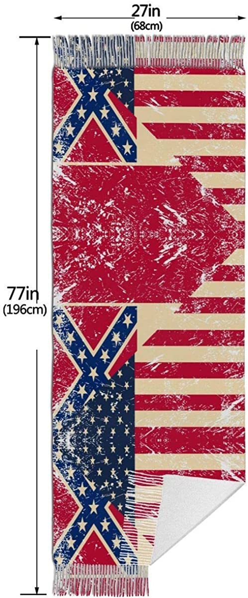 Retro USA and Mississippi State Flag Cashmere Scarf Shawl Wraps Super Soft Warm Tassel Scarves For Women Office Worker Travel