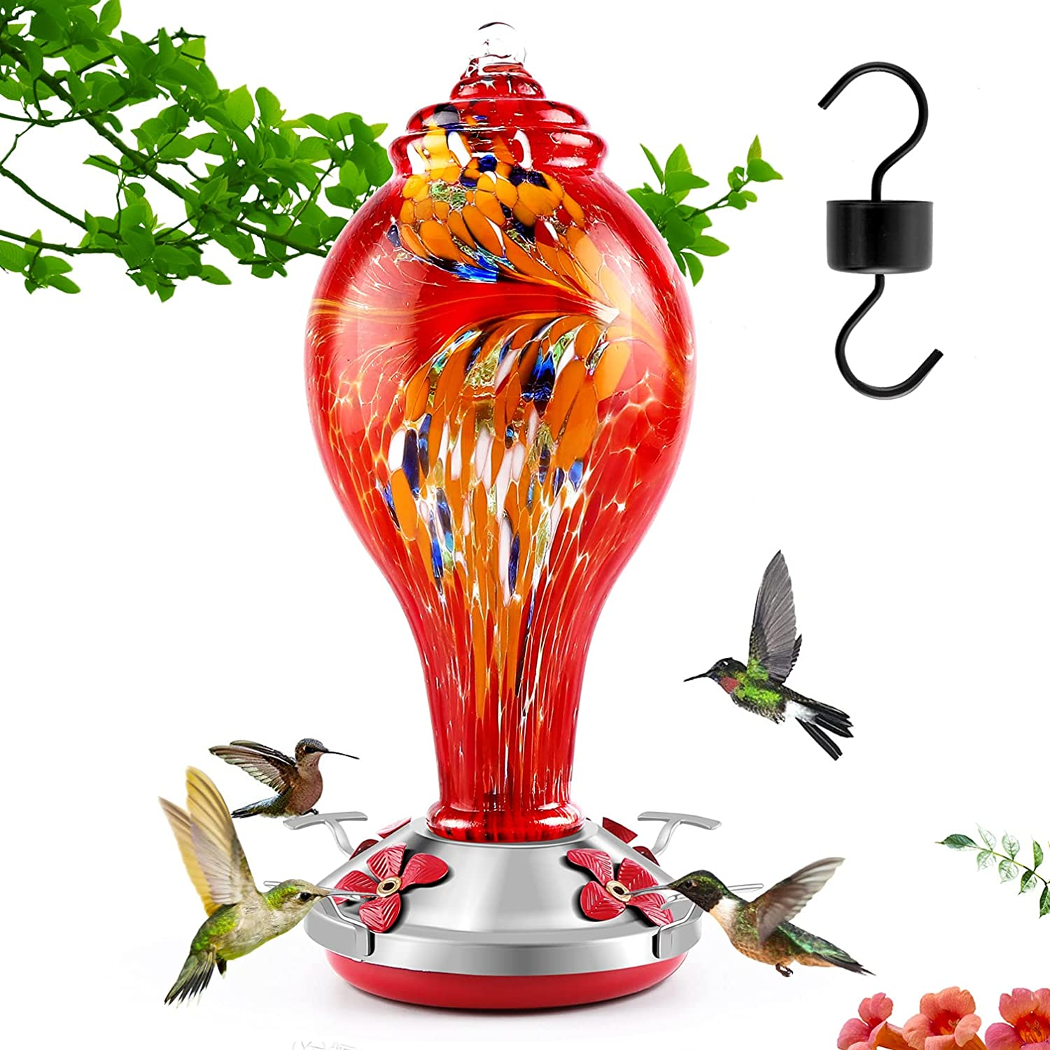 Hummingbird Feeders for Outdoors,Hand Blown Glass Hummingbird Feeder,Never Fade 36 Ounces,Clean&Fill Easily,Best Color Hanging Garden Yard Decoration S Hook Brush Moat Red
