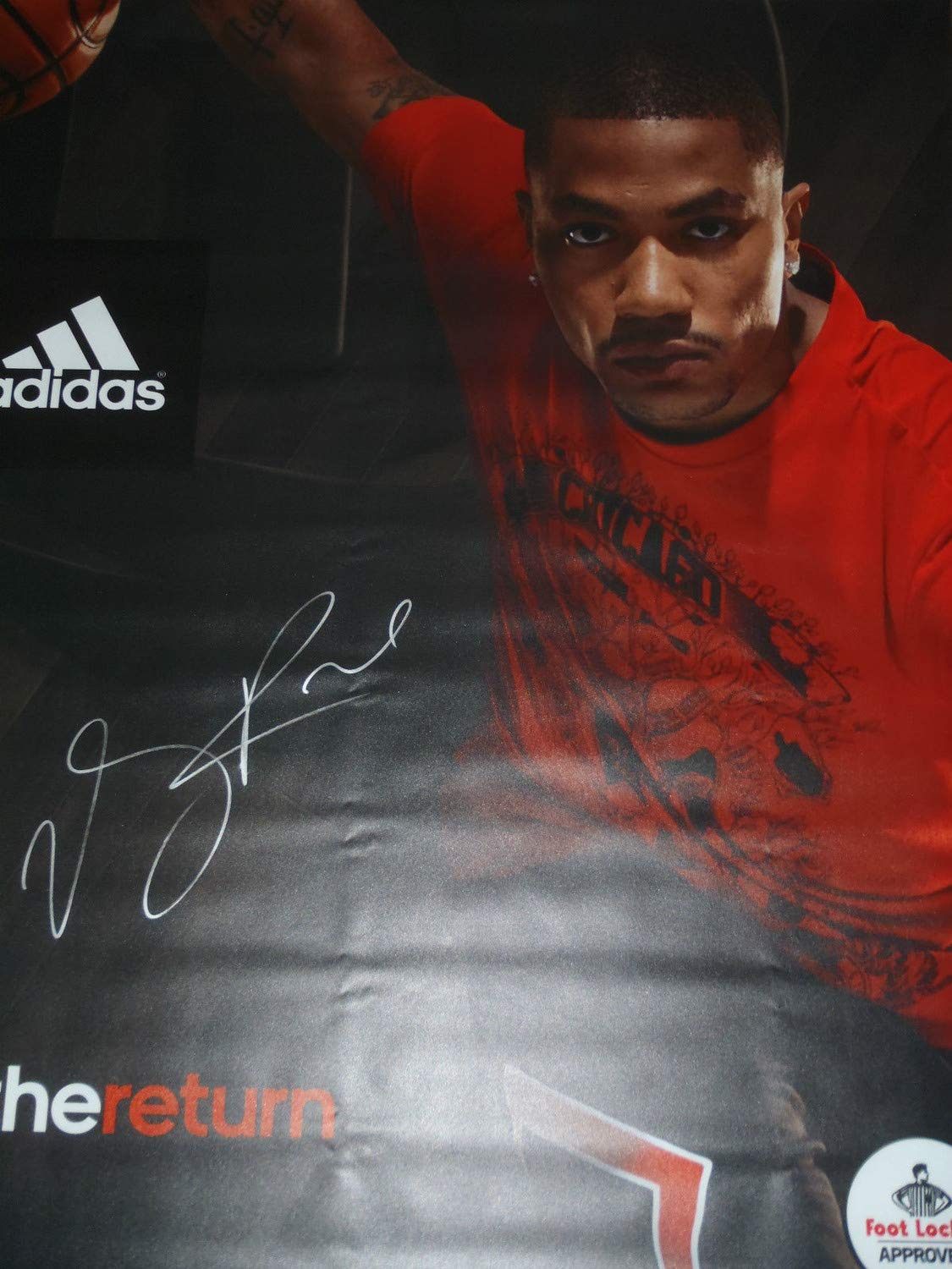 Very Rare Derrick Rose Autographed Signed Adidas Foot Locker Banner The Return Huge Auto PSA/DNA