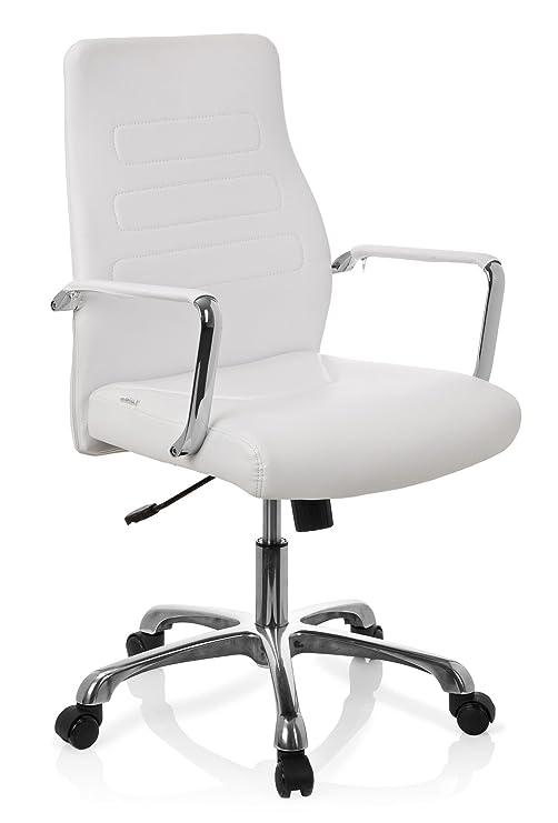 hjh OFFICE Sillón de Oficina operativo, Piel, Blanco