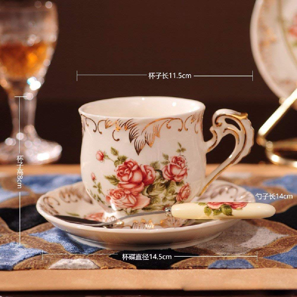 Kitchen Tea Set Porcelain Drinkware Set Saucers Ceramic Coffee Cup European High-Grade Ceramic Tea Tea with Creative Iron by Chusea (Image #3)