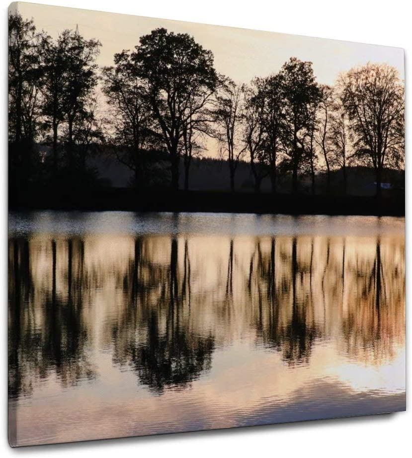 NOAON Installed Lake Lakeside Trees Evening Sun Sunset Mirroring Wood Framed Canvas Prints for Home Decor Wall Art 24x24 Inch Ready to Hang