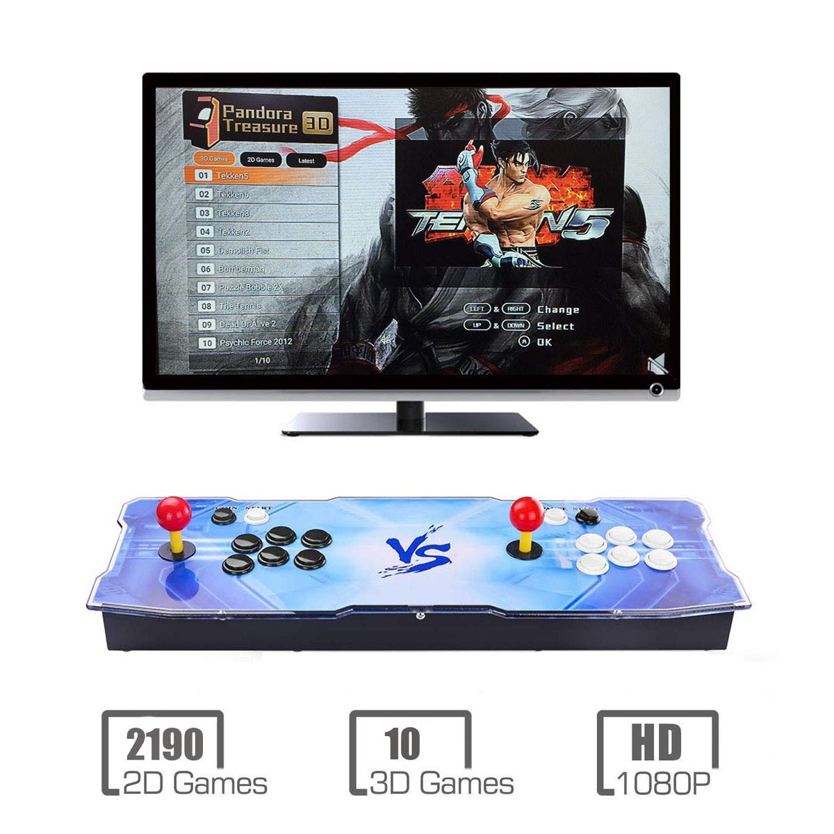 Pandora Treasure 3D Arcade Console | 2200 Games Pre-loaded | Support 3D Games | Add More Games | Full HD (1920x1080) Video | Support 4 Players | 2 Player Game Controls | HDMI/VGA/USB/AUX Audio Output