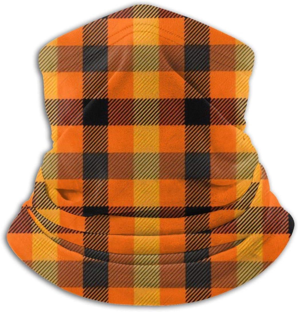 shenguang Halloween Tartan Plaid Scottish Cage Background Outdoor Headwear Superfine Fiber Neck Warmer Comfortable Polaina del cuelloMitad de Cara más cálida Face Winter Scarf for Cold Weath