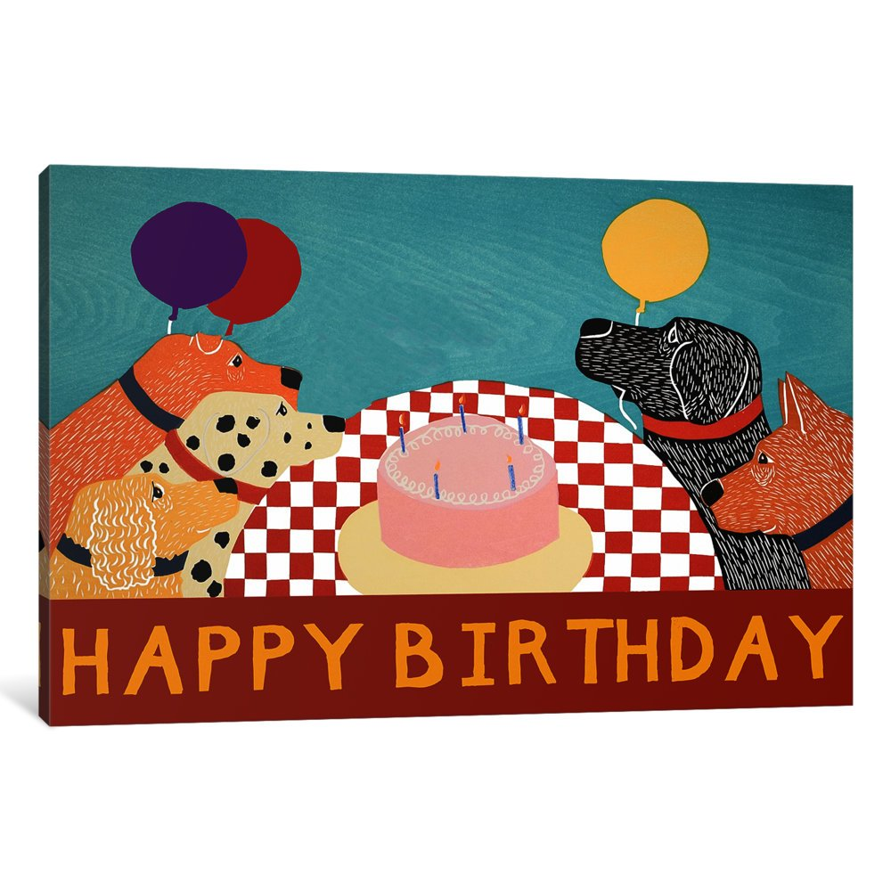 40 x 60 x 1.5-Inch iCanvasART 3 Piece Happy Birthday Large Canvas Print by Stephen Huneck