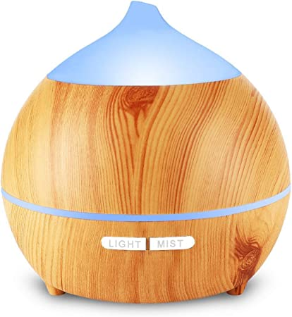 Avaspot 250ml Essential Oil Diffuser Aromatherapy Aroma Diffuser Wood Grain Humidifier, Ultrasonic Adjustable Cool Mist, Waterless Auto Shut Off and 7