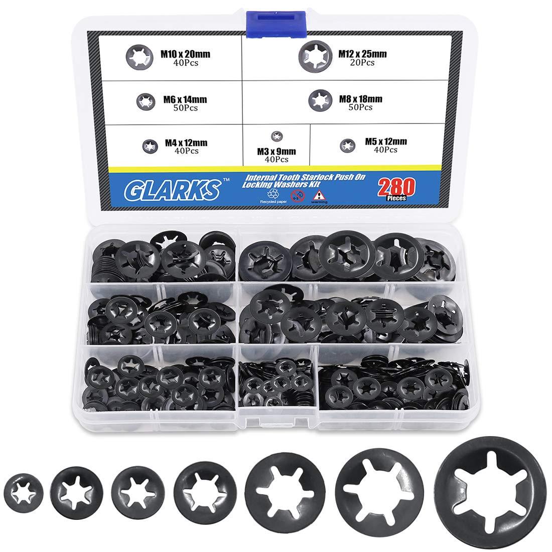 Starlock Washers Push On Locking Grab Star Fastener Clips  20X 2mm,3mm,4mm,5mm