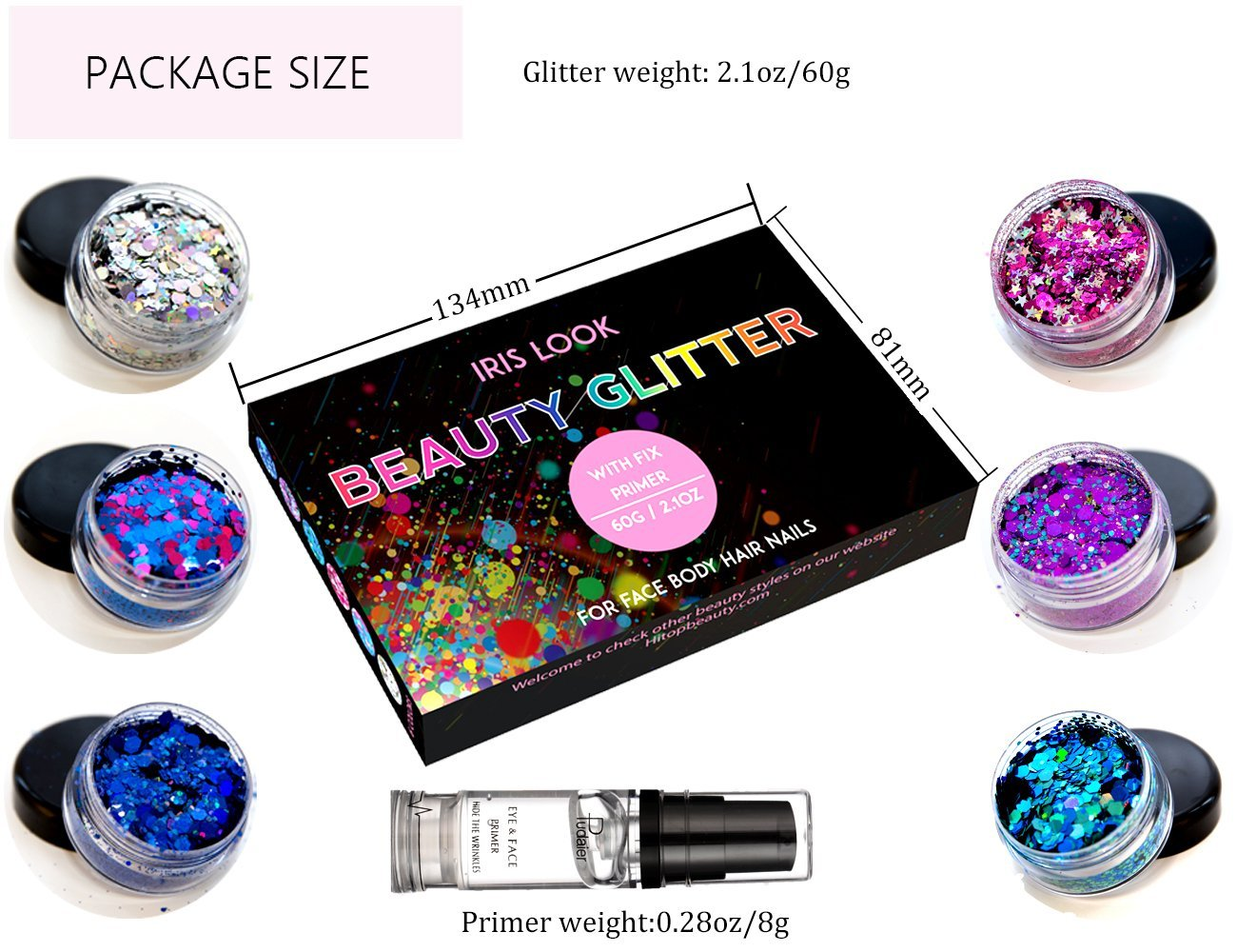 HITOP Colorful Cosmetic Chunky Glitter Festival Beauty Makeup Decoration for Body Face Nail Hair Eyes or Lips &DIY Crafts- Includes Long Lasting Free Fix Primer (6 Colors Set4) by HITOP (Image #4)