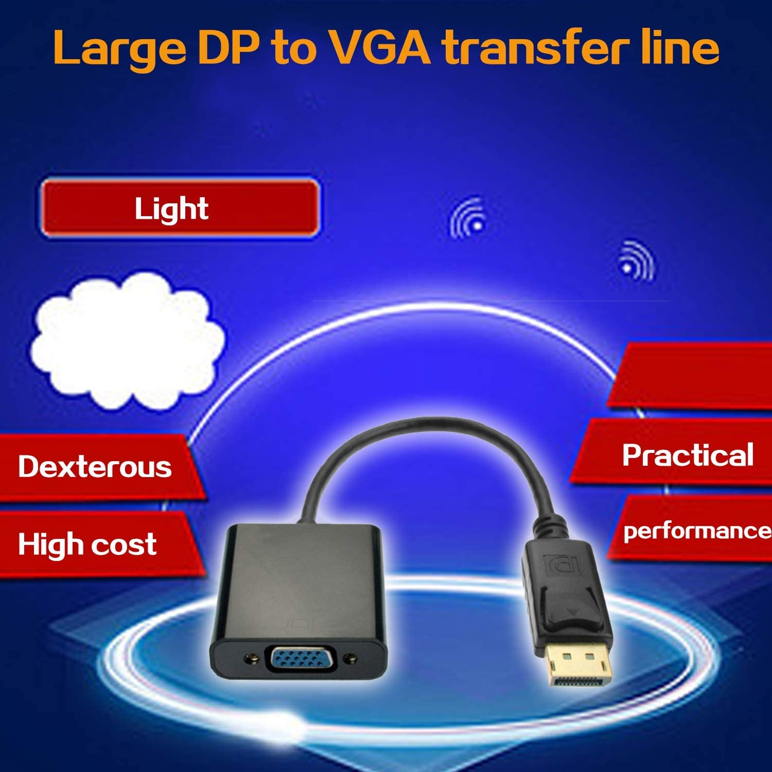 Displayport DP to VGA Adapter Male to Female Cable Converter Display Port Adapter