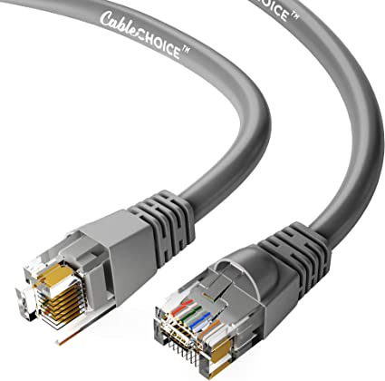 CABLECHOICE Cat5e Shielded Ethernet Cable White 26AWG Network Cable with Gold Plated RJ45 Snagless//Molded//Booted Connector 350MHz 5-Pack - 15 Feet 1Gigabit//Sec High Speed LAN Internet Cable
