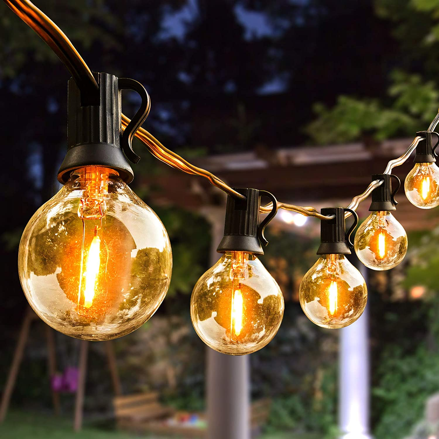 Outdoor String Lights 100ft With 64 Dimmable G40 Led Clear Bulbs Ul Approval Waterproof Globe String Lights 1w 2700k Outdoor Lighting For Backyard Porch Cafe Party Wedding Garden 100ft Home Kitchen