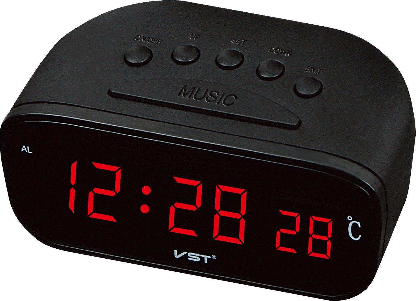 LILUO LEDCLOCK Reloj Digital enchufable LED Alarma Color Azul luz Verde Claro luz roja Temperatura de la Pantalla, B: Amazon.es: Hogar