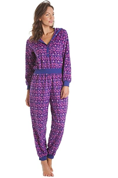 6334bea2e639 Camille Womens Ladies Supersoft Pink and Purple Print Hooded All In ...