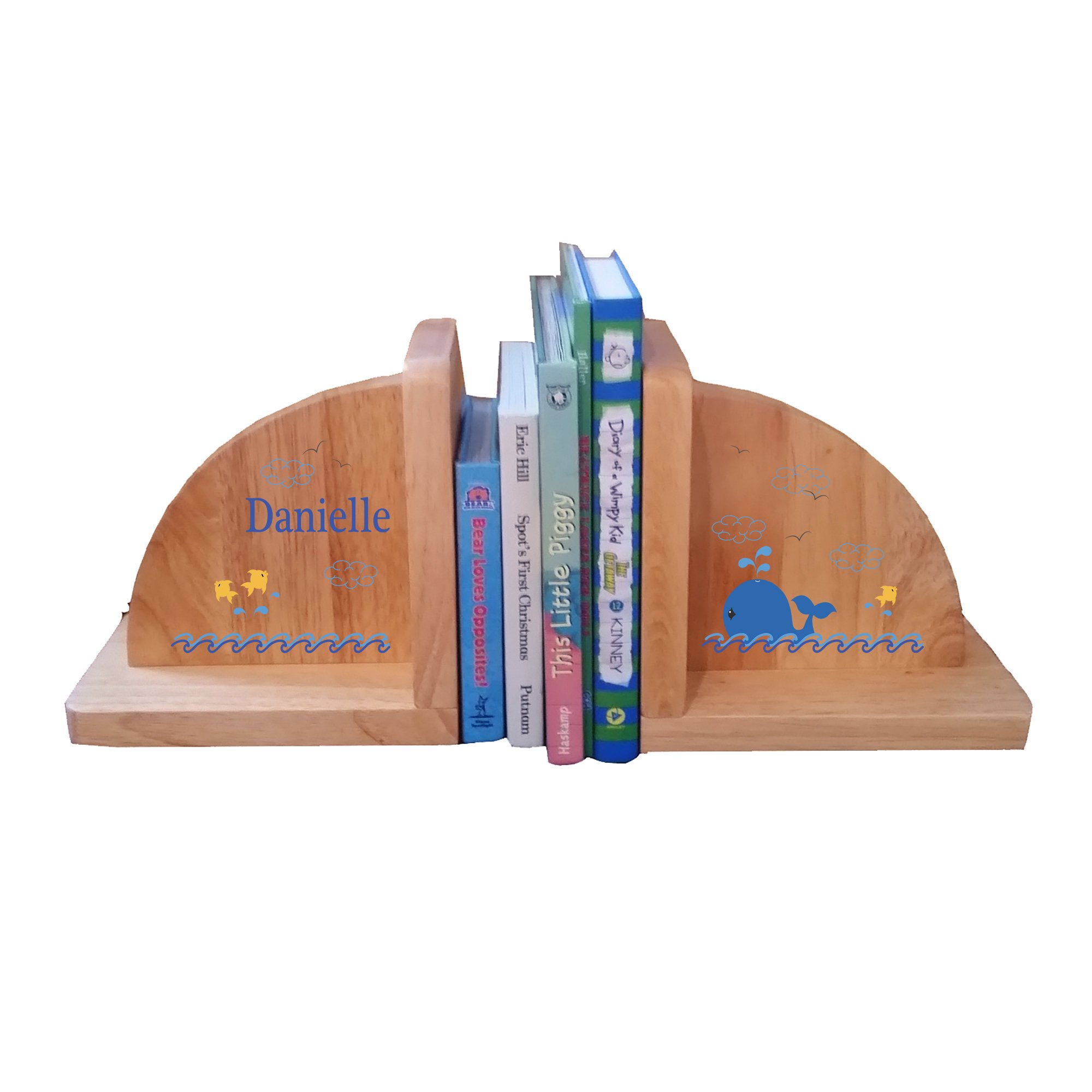 Personalized Whale Blue Natural Childrens Wooden Bookends