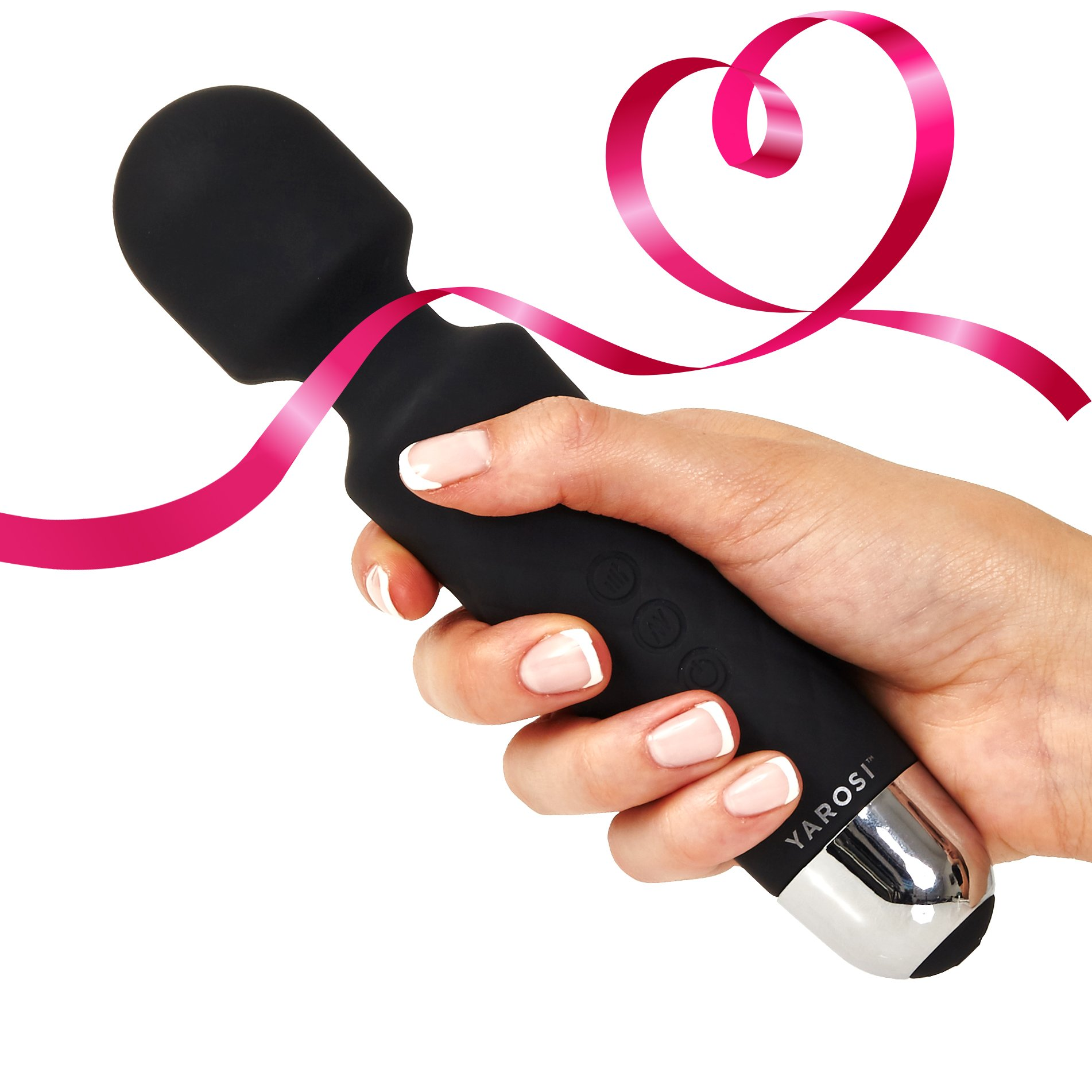 Personal Wand Massager by Yarosi - Strongest Cordless Handheld Therapeutic Vibrating Power - Best Rated for Travel Gift - Magic Stress Away - Perfect on Back, Legs, Hand Pains & Sports Recovery Srx BK