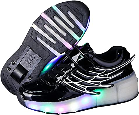 pit4tk LED Light Up Shoes USB Flashing Sneakers for Kids Boys Girls for Christmas