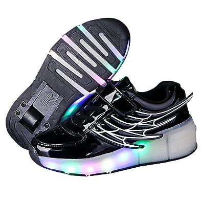 uk availability 8703f 576d5 Kids Wheely Shoes Girls Boys LED Light up Heelys Roller Skate Sneakers Xmas  Gift(Black