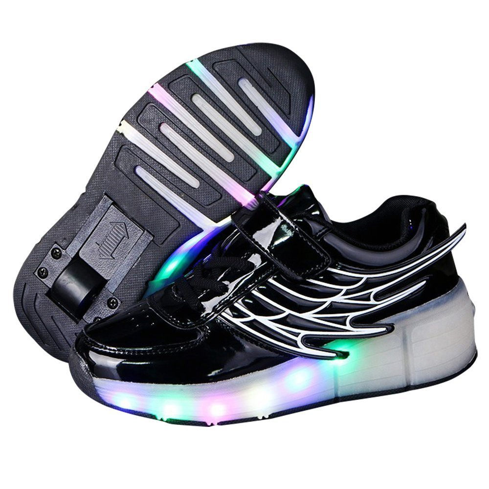 Hanglin Trade Boys Girls LED Light Up Shoes with Wheels Roller Sneakers Skate Shoes (Black 11 M US Little Kid)