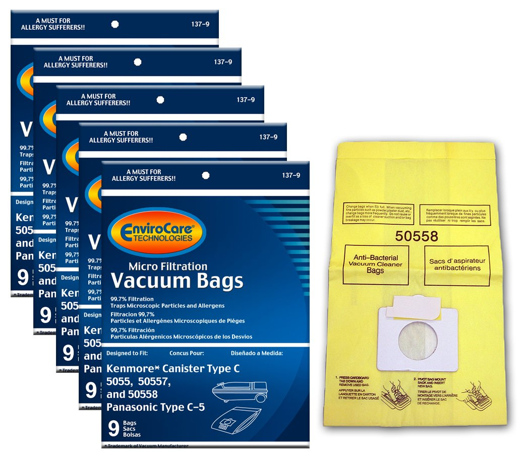 EnviroCare Replacement Vacuum Bags for Kenmore Canister Type C or Q 50555, 50558, 50557 and Panasonic Type C-5 45 Pack