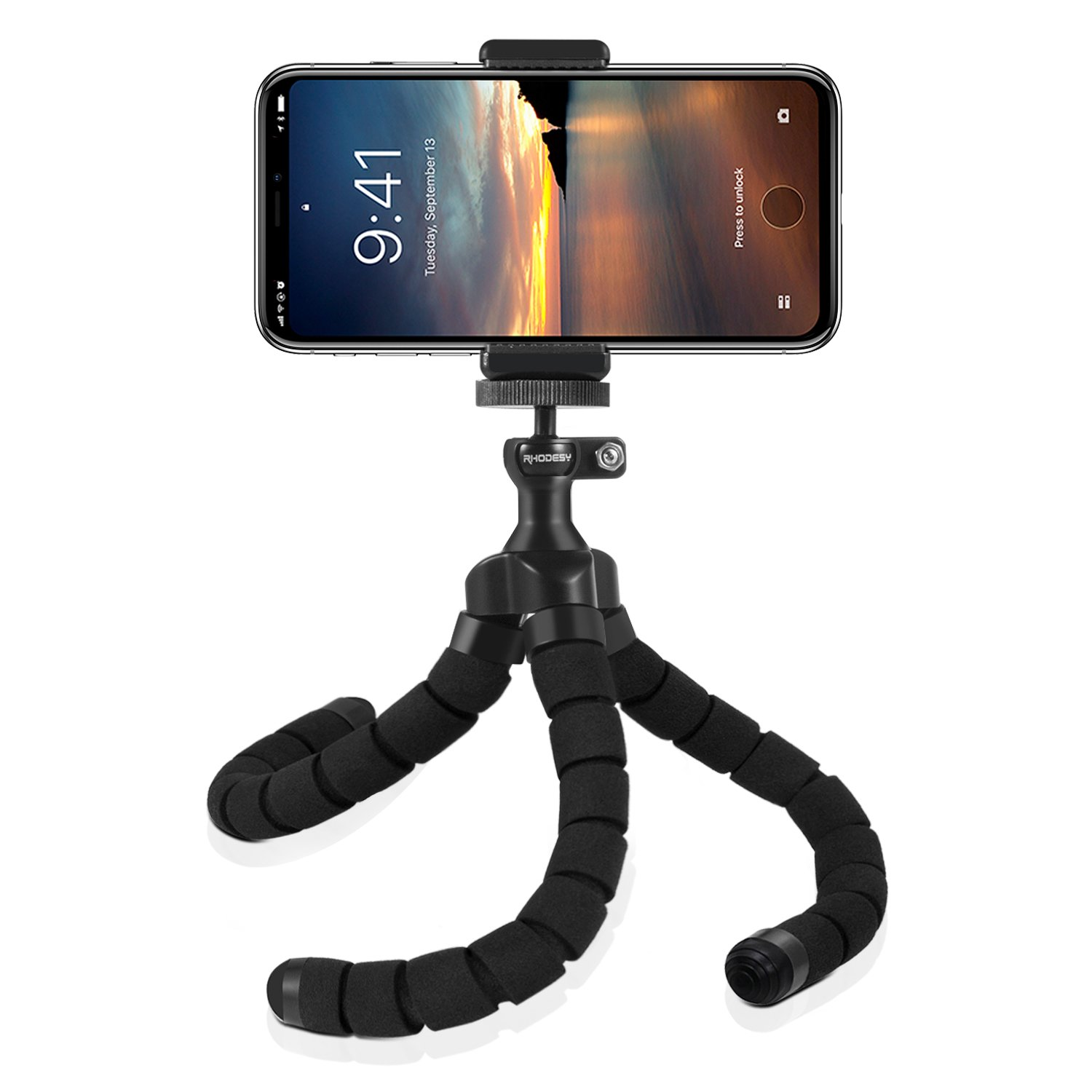Rhodesy RT-02 Octopus Style Tripod Stand Holder with Bluetooth Remote for Camera, Any Smartphone with Clip Rhodesy Tech