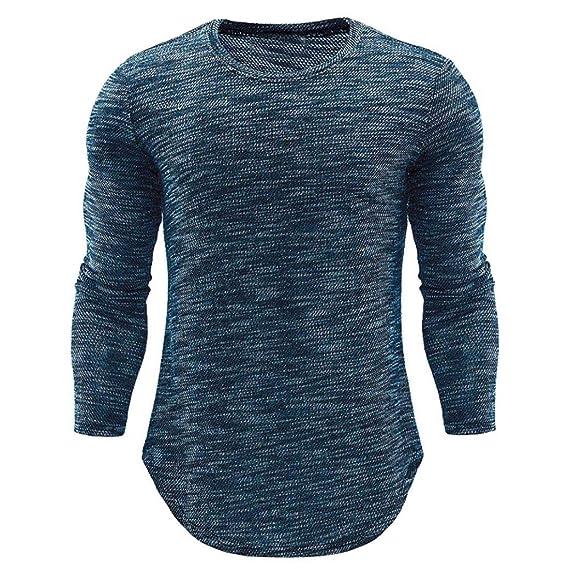 Camisetas Hombre de BaZhaHei, Camisas de Manga Larga para Hombre Delgada Ocasional del Cuello del