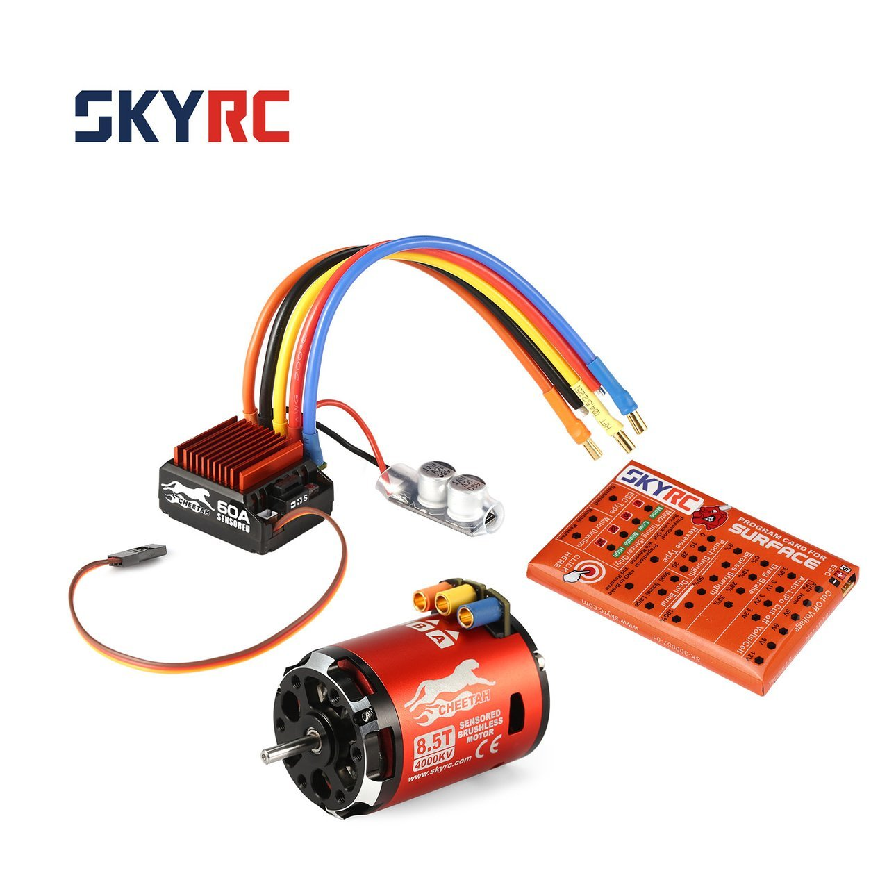 Ballylelly SKYRC 4000KV 8.5T SensoROT Brushless Motor 60A ESC Programmkarte für 1/10 Auto