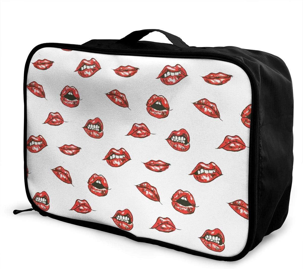Lips Travel Carry-on Luggage Weekender Bag Overnight Tote Flight Duffel In Trolley Handle