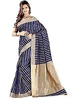 e-Vastram Women's Cotton Silk Saree Multi Colour Vertical Stripes with Tussur PallU & Border (Multi Colour]