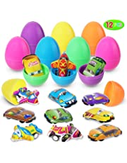 HiDreammy Easter Eggs Filled with Mini Pull-Back Vehicle Toys (12 Pcs); Cartoon Cars & Aeroplanes Set for Easter Theme Party Favor, Easter Eggs Hunt, Basket Filler, Classroom Prize Supplies
